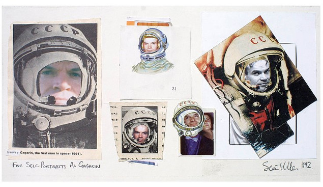 Seán Hillen: Five Self-portraits as Gagarin, 1992, photocollage, 19 x 36 cm | The National Self Portrait Collection of Ireland Additions | Thursday 19 February  – Friday 3 April 2015 | Bourn Vincent Gallery