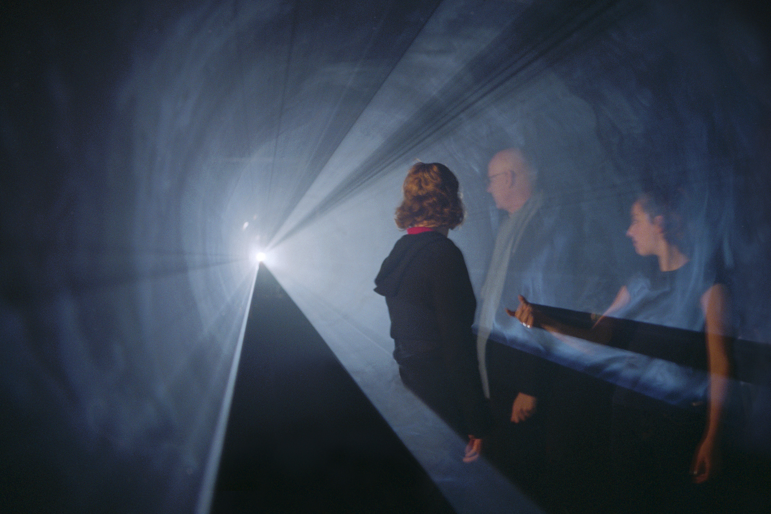 Anthony McCall: Line Describing a Cone (1973), at the twenty-fourth minute. Installation view, Into the Light: The Projected Image in American Art 1964-1977, Whitney Museum of American Art, 2001. Photograph by Hank Graber. | Anthony McCall | Sunday 2 April  – Sunday 15 October 2017 | Lismore Castle Arts