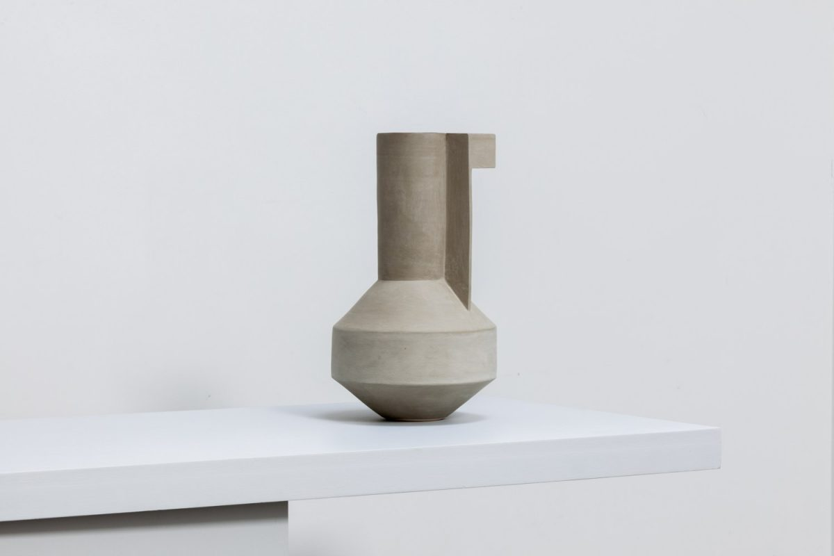 Angled Vessel, Olive – Thrown and assembled porcelain / stoneware with coloured engobe exterior. Photo Chris Martin | Derek Wilson: Abstracted Alignment | Thursday 6 July  – Saturday 19 August 2017 | Golden Thread Gallery