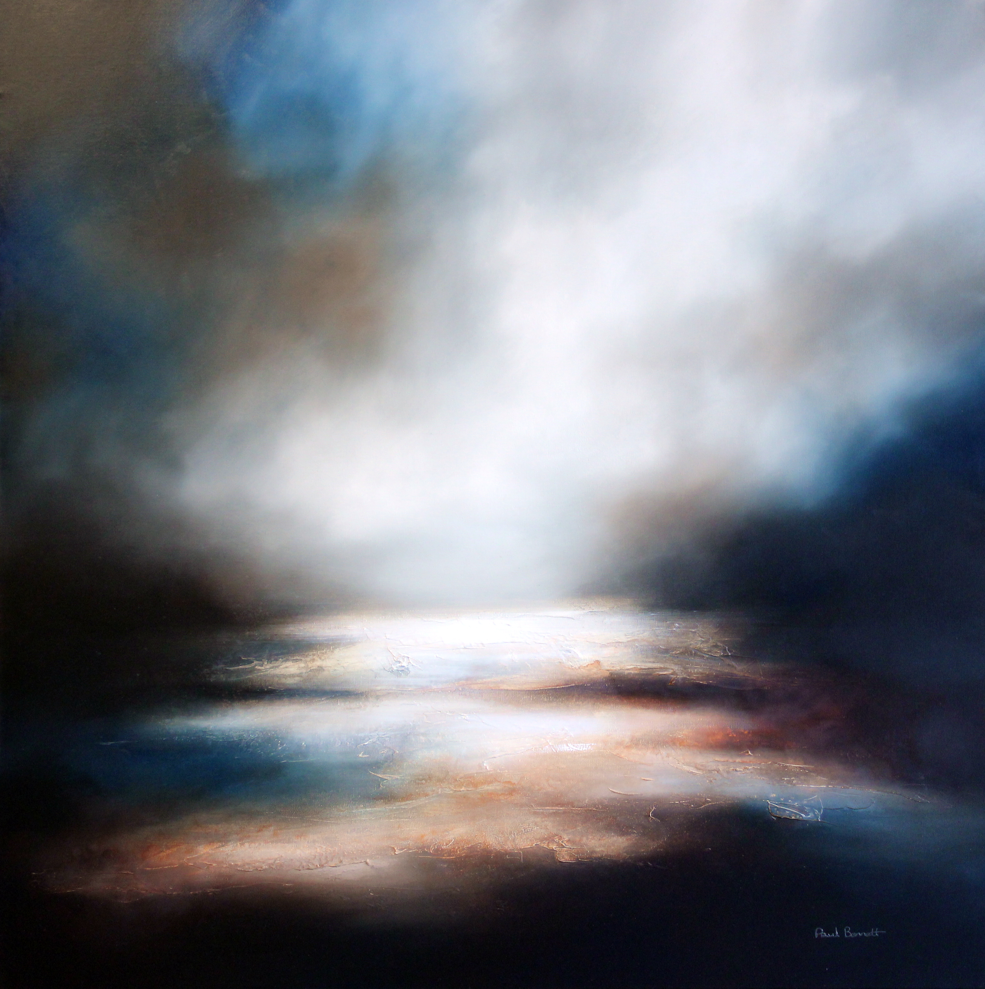 Paul Bennett: The Valley of Dawn, 99 x 99cm, oil on canvas | Stellar Depth | Saturday 17 June  – Wednesday 30 August 2017 | Gormley's Fine Art, Dublin