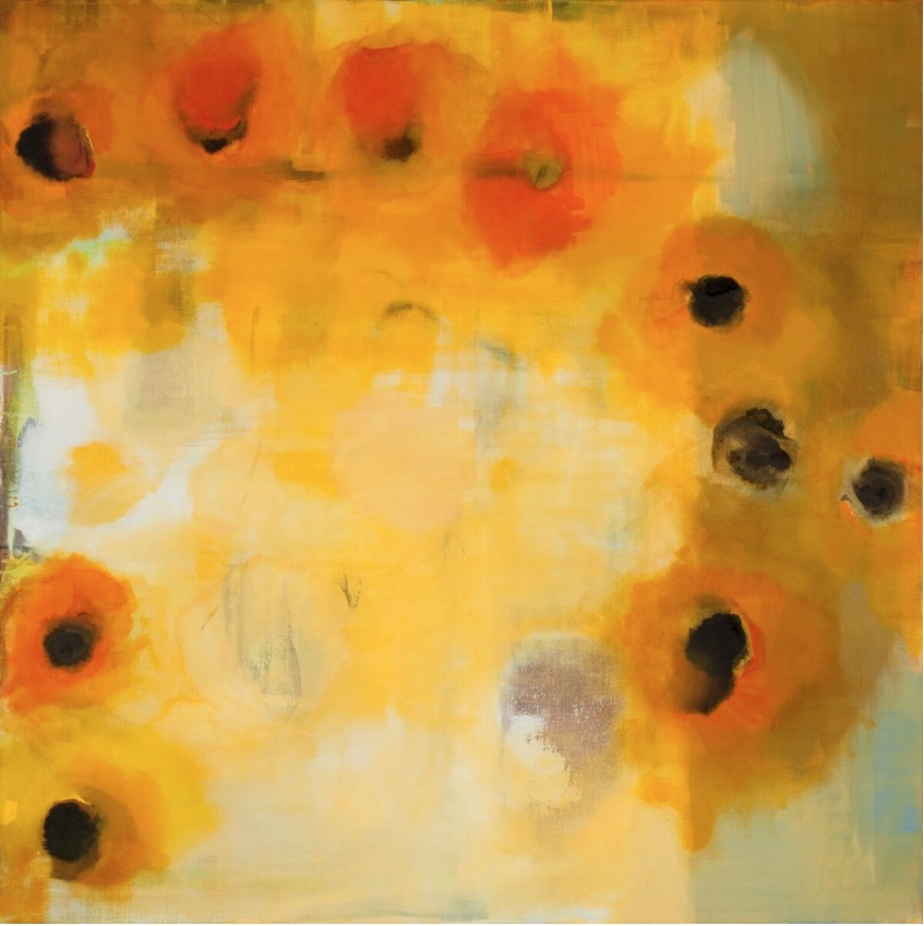 Cléa van der Grijn: Marigold Field 6, multimedia and oil on stretched linen, 152 x 152 cm | Cléa van der Grijn: Reconstructing Memory – Selected Works | Friday 23 June  – Saturday 15 July 2017 | Solomon Fine Art