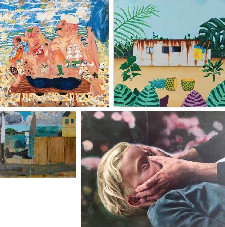 Clockwise from top left: Amanda Doran: The Seamen; James Kirwan: Cooking Up Something Good; Patrick Redmond: Facemaker; Stephen Nolan: Street Scene | Art in Gorey | Saturday 15 July –  Thursday 31 August 2017 |