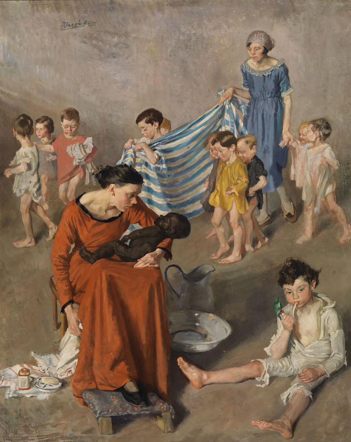 Margaret Clarke: Bath Time at the Crèche, c. 1925; National Gallery of Ireland | Margaret Clarke: An Independent Spirit | Saturday 16 September  – Saturday 18 November 2017 | F.E. McWilliam Gallery