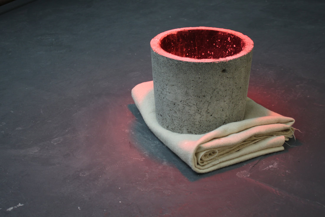 Katie Watchorn: Cud Milk and Heats, 2014, concrete, wool blanket, salt solution, heat-lamp, dimensions variable | Bare Root | Monday 23 October  – Friday 1 December 2017 | Wexford Arts Centre