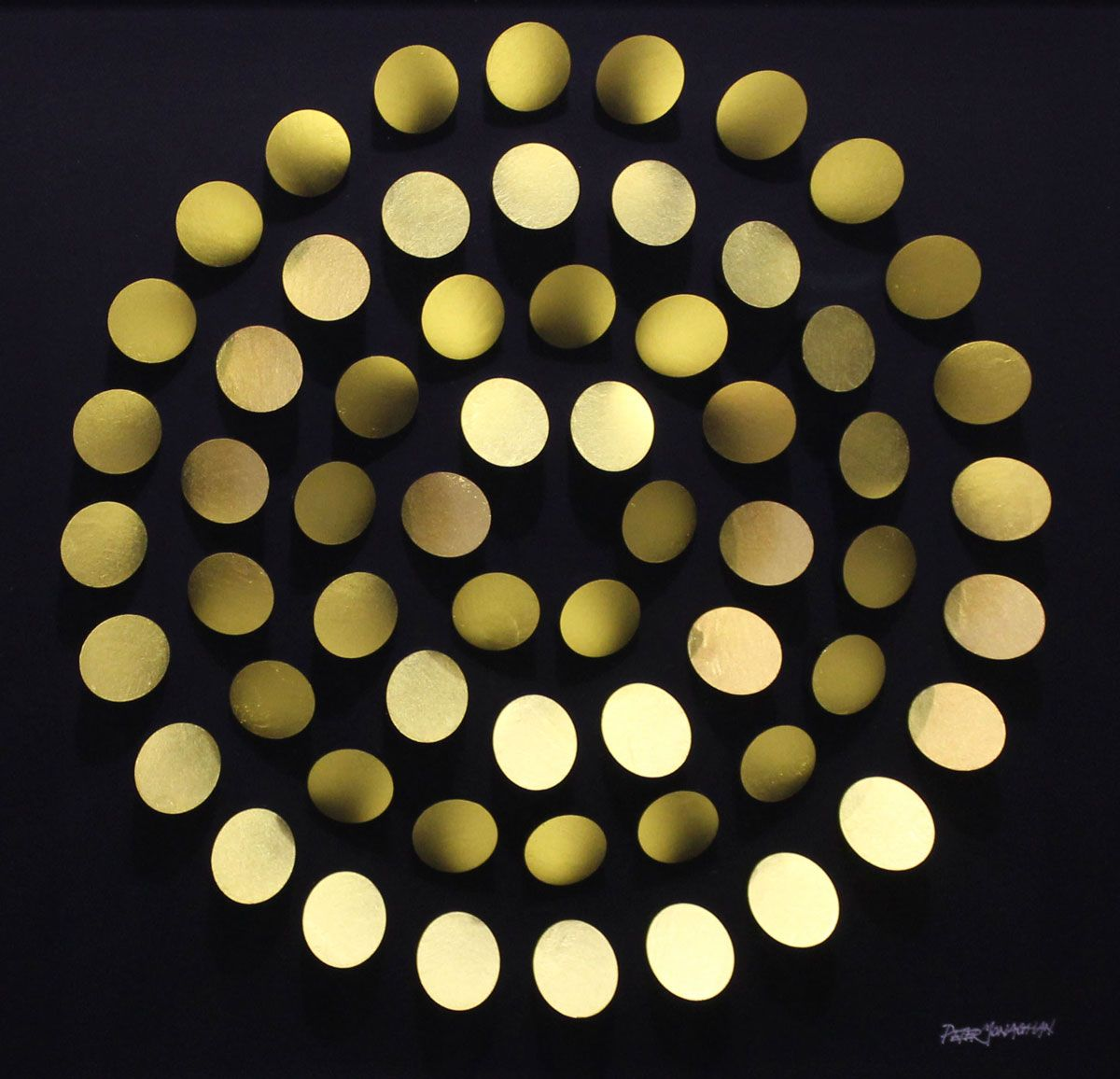 Peter Monaghan: Golden Rotation I, 2017, 43 x 43cms, mixed media | Gormleys Dublin Christmas Exhibition | Saturday 25 November 2017  – Saturday 6 January 2018 | Gormley's Fine Art, Dublin