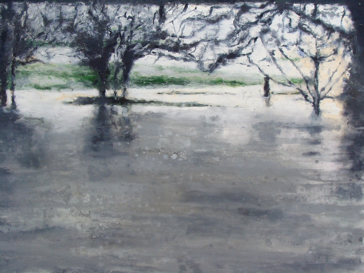 Bernadette Kiely: River in flood, oil on canvas, 102 x 153 cm, 2012 | Bernadette Kiely: SO MUCH WATER [so] CLOSE TO HOME | Saturday 3 February  – Sunday 25 March 2018 | Luan Gallery