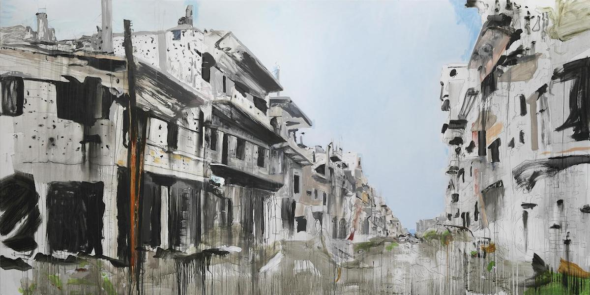Brian Maguire: Aleppo 4, 2017, acrylic on linen,  200 x 400cm; courtesy the artist and Fergus McCaffrey Gallery | Brian Maguire: War Changes Its Address: The Aleppo Paintings | Friday 26 January  – Sunday 6 May 2018 | Irish Museum of Modern Art