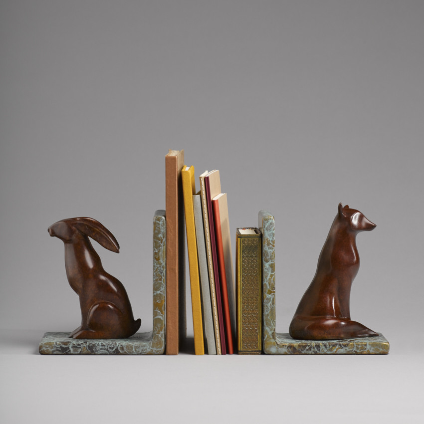 Stephanie Hess: Book Ends, bronze, 16 x 15 x 10cm (each), edition of 9 | Stephanie Hess: Menagerie | Friday 2 February  – Saturday 3 March 2018 | Solomon Fine Art
