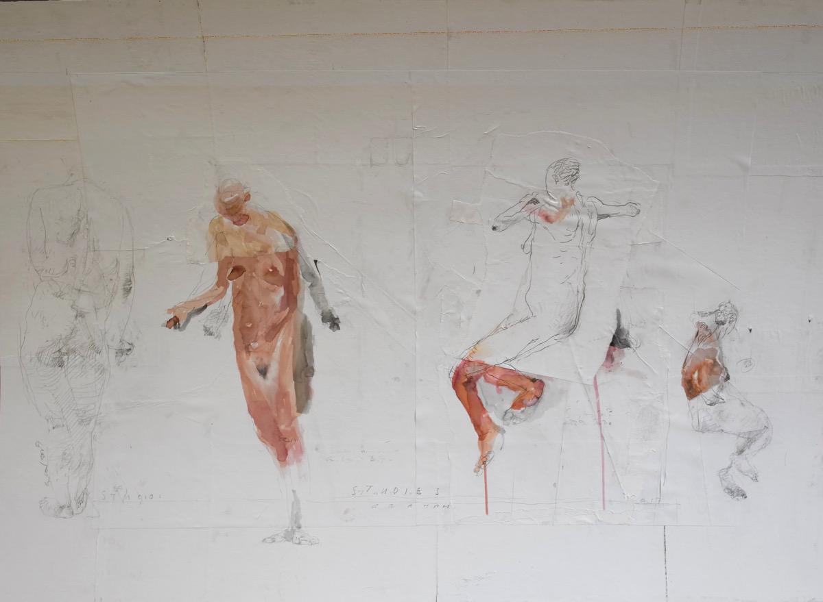Patrick Graham: Studies, 2017, mixed media, 81 x 112 cm | Basil Blackshaw / Patrick Graham / Michael Warren | Friday 23 February  – Friday 27 April 2018 | Hillsboro Fine Art
