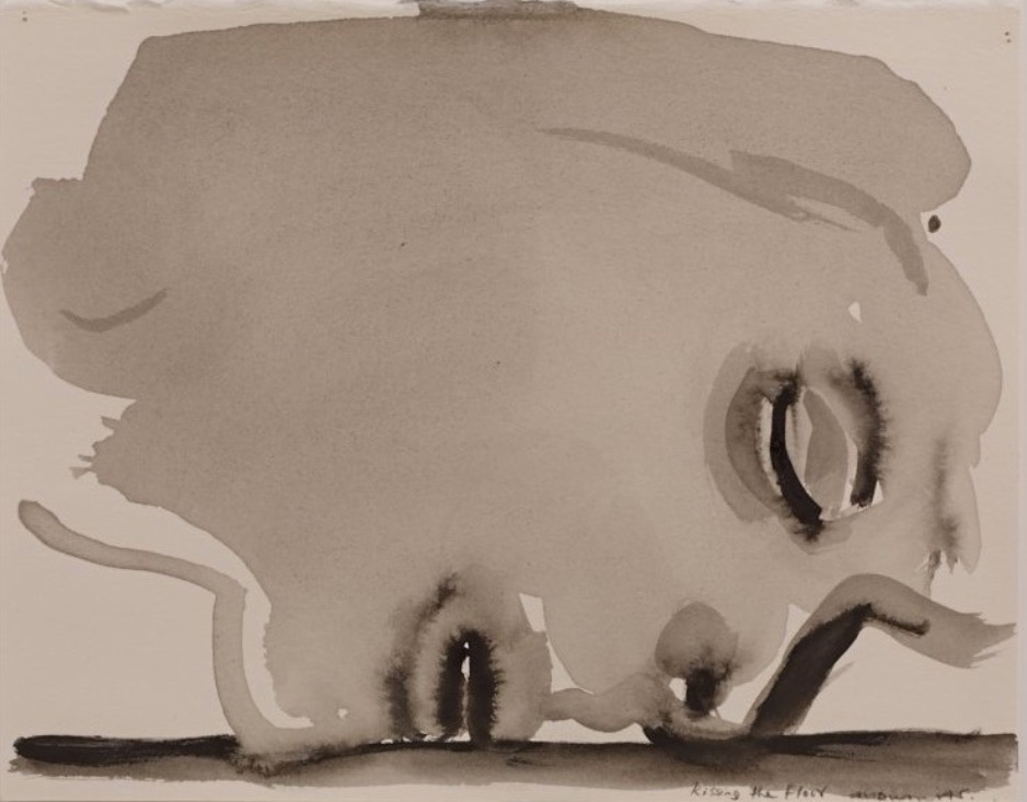 Marlene Dumas: Kissing the Floor, 2014 / Watercolour on paper / 27 x 22 cm / Private Collection, London. Courtesy of Frith Street Gallery. | IMMA Collection: Freud Project, The Ethics of Scrutiny | Thursday 15 February  – Sunday 2 September 2018 | Irish Museum of Modern Art