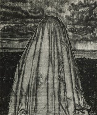 Gary Coyle: Haunted, charcoal on paper, 129 x 90 cm, 2012 | Gary Coyle: Hello Darkness | Friday 1 June – Saturday 30 June 2012 | Kevin Kavanagh