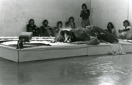 Nigel Rolfe: Zebra, 1978–79, performance using flour and soot, Dorothy Walker Collection, National Irish Visual Arts Library  | Mobile Encounters | Friday 12 December 2014  – Sunday 15 February 2015 | IMMA
