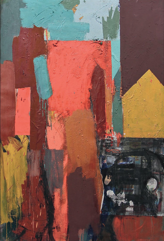 Michael Kane: Broken Dummy in a Car Park, oil, acrylic & collage on canvas,182 x 122 cm,2015 | Michael Kane: Recent Paintings | Saturday 7 March  – Sunday 19 April 2015 | Butler Gallery