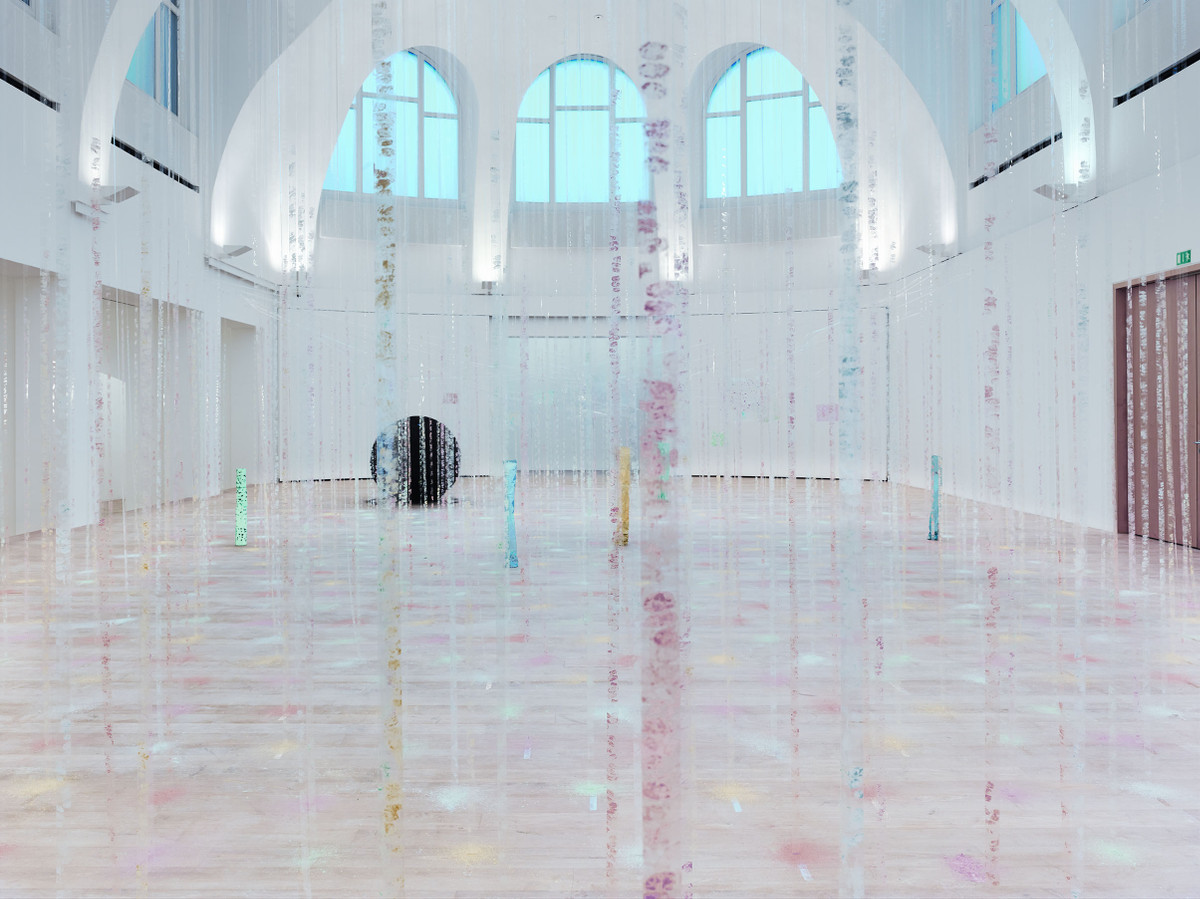 Karla Black:Practically in Shadow, 2013, Plaster powder, powder paint, florist foam, bath bombs, nail varnish, polythene, thread, cellophane, sellotape. Hanging element: 840 x 870 x 80 cm Floor element: 160 x 1200 x 670 cm. Overall dimensions variable. Installation view, Institute of Contemporary Art, University of Pennsylvania, 2013. Photo: Aaron Igler/ Greenhouse Media   Karla Black   Friday 1 May  – Sunday 26 July 2015   IMMA