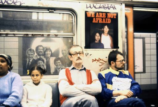 Les Levine, ''We Are Not Afraid'' campaign, NYC subways, 1981, Unique cibachrome, 50.8 x 60.96 cm , Collection Irish Museum of Modern Art; donated by Barbara and Donald Seligman, 2014 | IMMA Collection: Les Levine: Using the Camera as a Club | Thursday 19 November 2015  – Monday 2 May 2016 | IMMA
