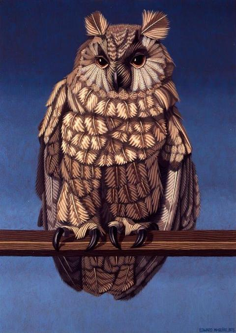Edward McGuire:Owl, 1973, Oil on canvas, 86.36 x 60.96 cm, Collection Irish Museum of Modern Art, Heritage Gift, P.J. Carroll & Co. Ltd. Art Collection, 2005, | IMMA Collection: Nick Miller and the studio of Edward McGuire | Thursday 19 November 2015  – Monday 2 May 2016 | IMMA