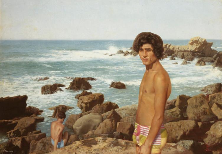 Patrick Hennessy: Kassim by the Sea, 1978, oil on canvas, 62.2 x 87.6 cm. Private Collection. Image courtesy of Whytes.  © The Artist's Estate | Patrick Hennessy: De Profundis | Thursday 24 March  – Sunday 24 July 2016 | IMMA