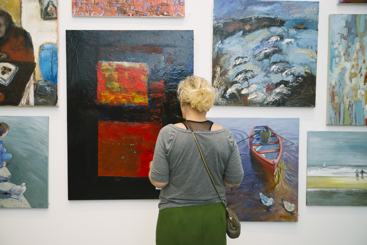 Enjoying work at the opening of the 2015 Members Exhibition. Photo by Emma Jervis   Members' Exhibition 2016   Saturday 4 June  – Saturday 9 July 2016   Uillinn: West Cork Arts Centre
