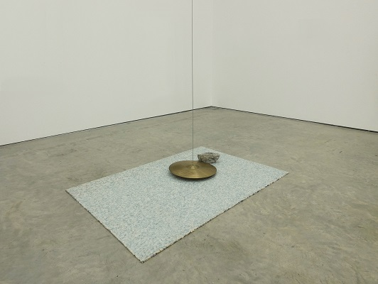 David Beattie: The Impossibility of an Island, 2016, Cymbal, steel wire, concrete, carpet underlay, motor, Dimensions variable, Collection Irish Museum of Modern Art, Purchase, Hennessy Art Fund for IMMA Collection, 2016; image courtesy the artist | The Hennessy Art Fund for IMMA Collection | Friday 15 July 2016  – Sunday 26 February 2017 | IMMA