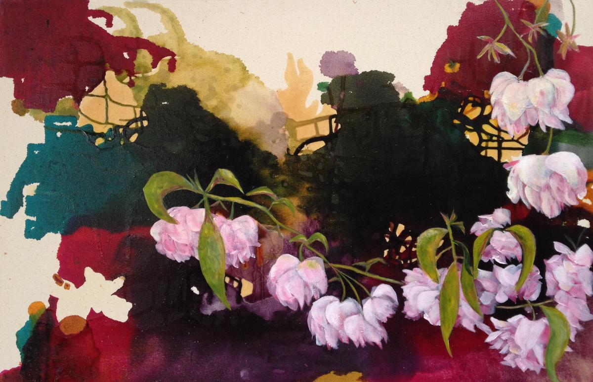 Trish Taylor Thompson: Madam Butterfly's Garden, glass inks & acrylics on canvas, 92cm x 60.5cm, from the series 'Sakura' | Curator's Choice: Trish Taylor Thompson | Thursday 1 December  – Saturday 31 December 2016 | Hunt Museum