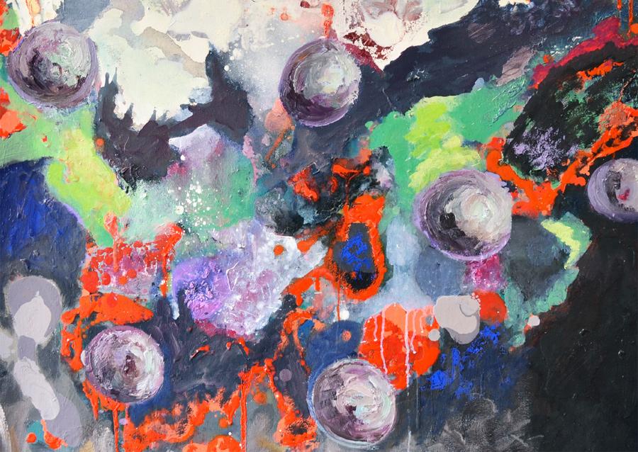 Catherine Rock: Purple Rain (detail), oil on panel, 80 x 70cm | Elsewhere | Saturday 29 April  – Friday 23 June 2017 | Luan Gallery