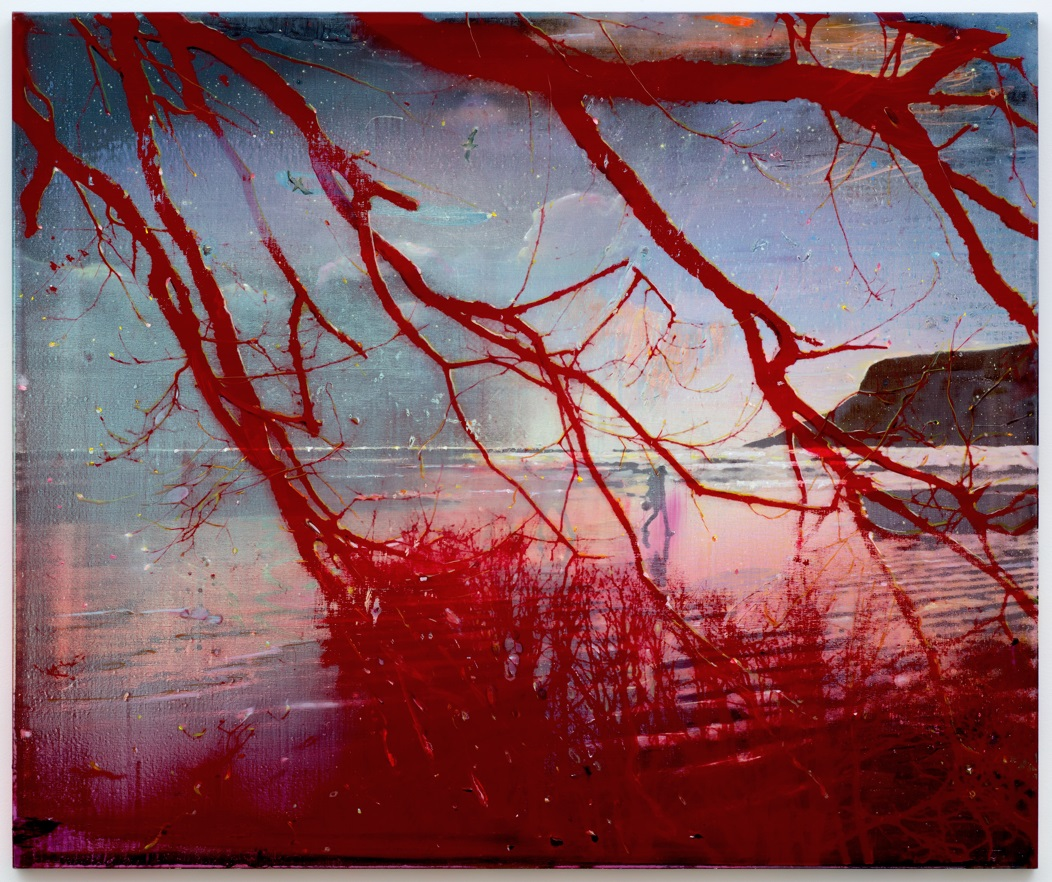 Elizabeth Magill: Red Bay, 2016, oil and silkscreen on canvas, 153 × 183 cm | Elizabeth Magill: Headland | Saturday 9 September  – Sunday 22 October 2017 | Limerick City Gallery of Art