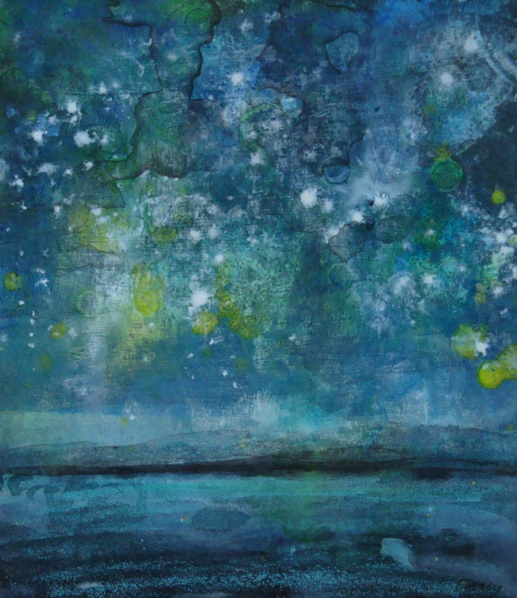Blawnin Clancy: Sailing by the Light of the Stars, mixed media on paper 24 x 21cm | Uisce | Saturday 4 November  – Saturday 25 November 2017 | Garter Lane Arts Centre