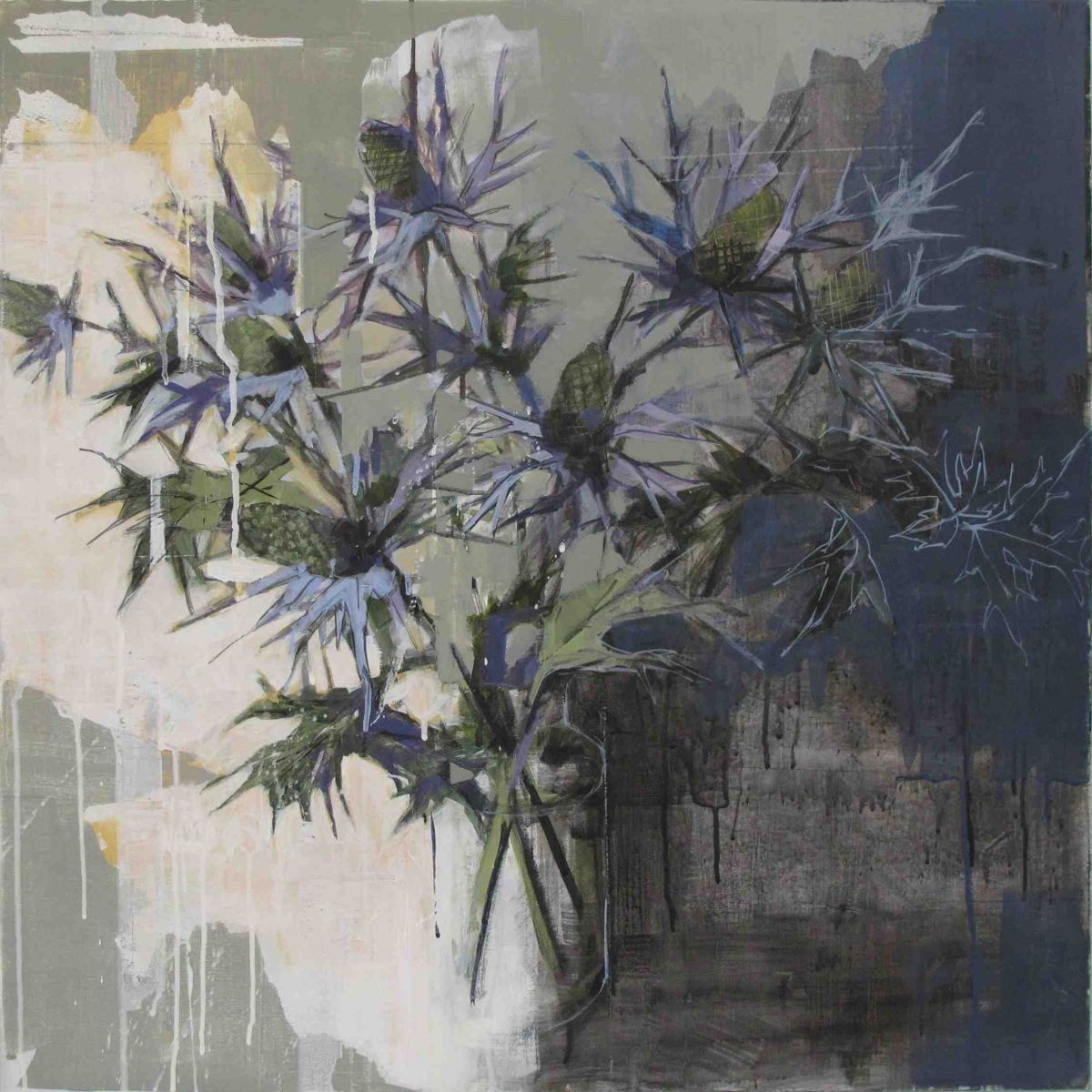 Bridget Flinn: Blue Thistle, acrylic on canvas, 70 x 70cm | Winter Group Exhibition 2017 | Friday 24 November 2017  – Saturday 27 January 2018 | Solomon Fine Art