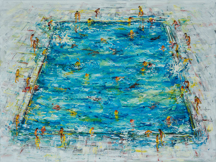 Stephen Forbes: Swimming Pool, 2017, oil on canvas, 105 x 140cm | Stephen Forbes: Movement | Thursday 1 February  – Thursday 1 March 2018 | Gormley's Fine Art, Dublin