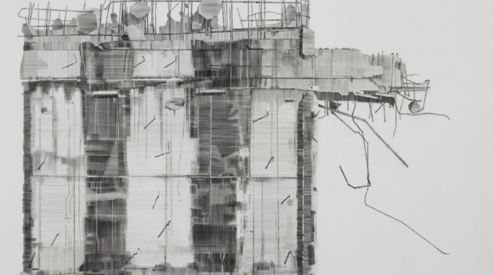 Dorothy Smith, Demolition, 2017, pencil on paper, 76 x 56 cm, image courtesy of the artist. | Dorothy Smith: Land Marks | Thursday 15 March  – Sunday 22 April 2018 | Royal Hibernian Academy
