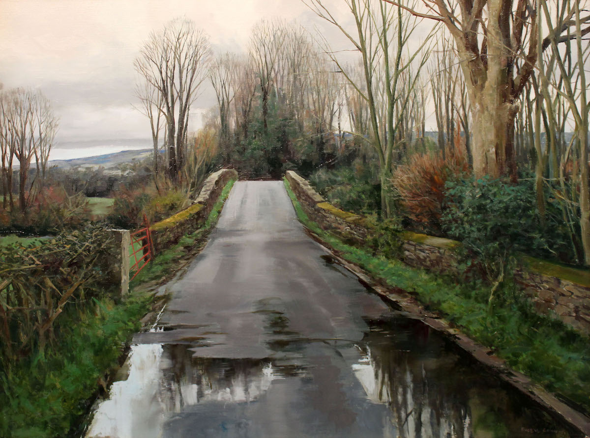 Eugene Conway: Reflections in Spring, oil on linen, 61 x 48cm | Eugene Conway: Road to Home | Sunday 10 June  – Monday 25 June 2018 | Gormley's Fine Art, Dublin