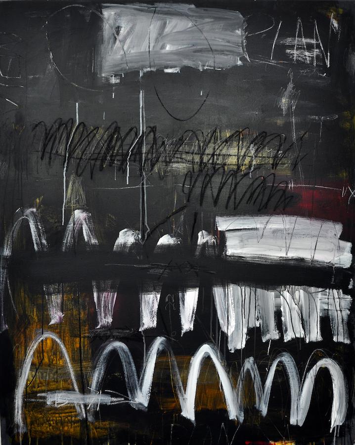 Anya Waterworth: Plan II, acrylic, pencil, crayon on canvas, 152 x 122 cm | Anya Waterworth: Recent Paintings | Thursday 7 June  – Saturday 7 July 2018 | Hillsboro Fine Art