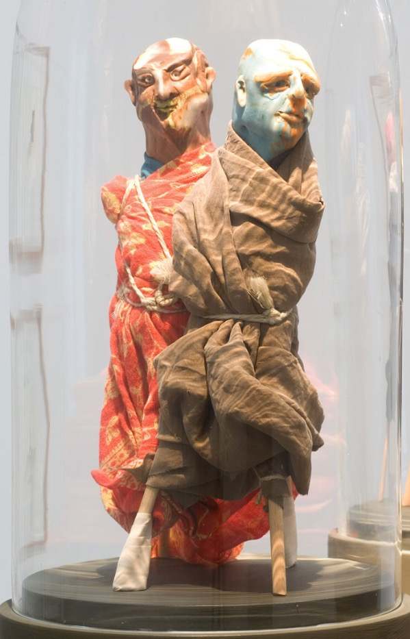 Thomas Schütte, Untitled (United Enemies), 1994, modelling clay, fabric, wood, rope, PVC pipe and glass dome, 185 x 25 cm / 73 x 9.8 in. Collection of De Pont Museum, Tilburg (NL). Photo by Peter Cox. | Face to Face | Friday 29 June  – Saturday 18 August 2018 | Kerlin Gallery