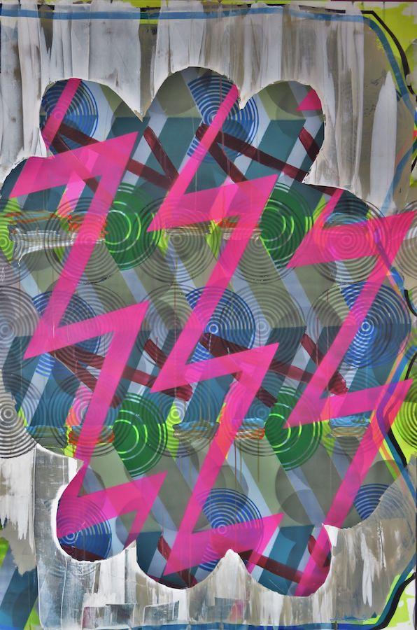 Leah Hewson: Impending, 2018, acrylic & lacquer on canvas, 150 x 100 cm | Leah Hewson: Ammo Veil | Thursday 12 July  – Saturday 11 August 2018 | Hillsboro Fine Art