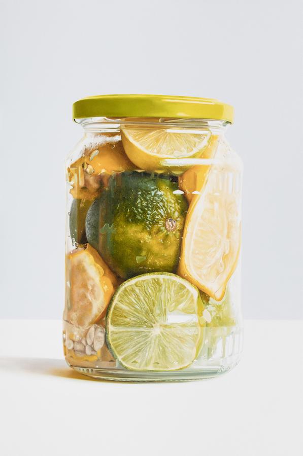 Stephen Johnston: Lemons and Limes in Jar, 2018, oil on canvas, 81 x 119 cm | Summer Show | Saturday 21 July  – Saturday 1 September 2018 | Gormley's Fine Art, Dublin