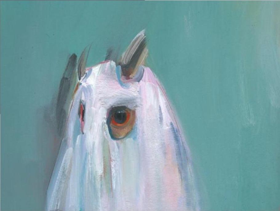 Gabhann Dunne:Ghost of a Long Eared Owl, 2018, oil on board, 5x20cm | Gabhann Dunne: Crossing the Salt | Friday 20 July  – Sunday 2 September 2018 | Limerick City Gallery of Art