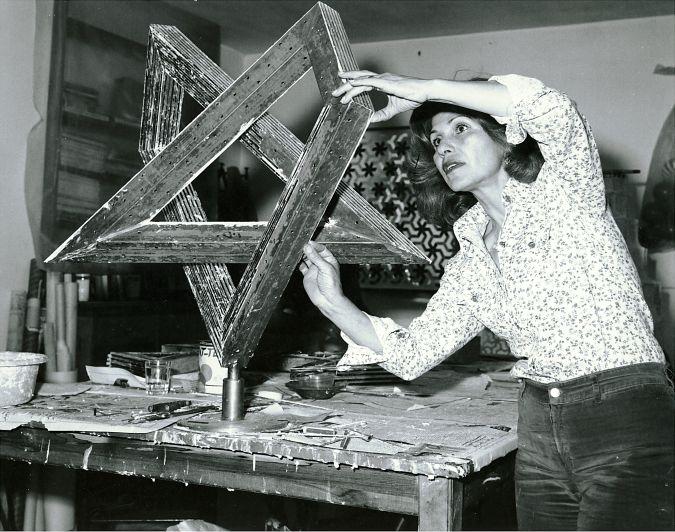 Monir Farmanfarmaian in her studio working onHeptagon Star, Tehran, 1975. Image courtesy of the artist and The Third Line, Dubai. | Monir Shahroudy Farmanfarmaian: Sunset, Sunrise | Friday 10 August  – Sunday 25 November 2018 | IMMA