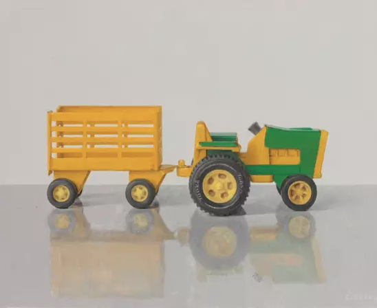 Comhghall Casey, Toy Tractor and Trailer (Tonka) | Comhghall Casey: New Paintings | Friday 28 September  – Saturday 20 October 2018 | Solomon Fine Art