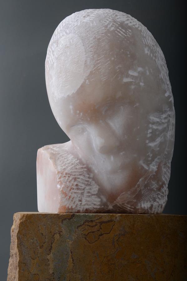 Tania Mosse:Mocking, 2017, alabaster, Hornton stone, 58 cm h | Mosse | Friday 21 September  – Saturday 20 October 2018 | Hillsboro Fine Art