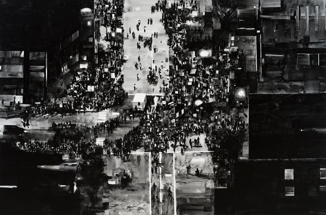 Joy Gerrard, Detail Protest Crowd, Chicago, Trump Rally (2016), Ink on paper, mounted on aluminium, white box frame, 40cm x 58 cm. 2017 | Joy Gerrard: Fractured Crowd | Sunday 21 October  – Saturday 1 December 2018 | Wexford Arts Centre