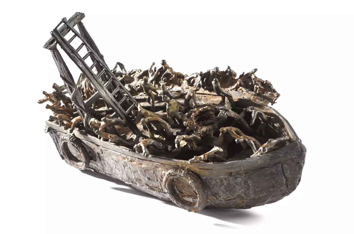 John Behan RHA: Migrant Boat, bronze, unique, 34 x 43 x 38cm | John Behan RHA: Seven Ages of Man | Friday 26 October  – Saturday 17 November 2018 | Solomon Fine Art