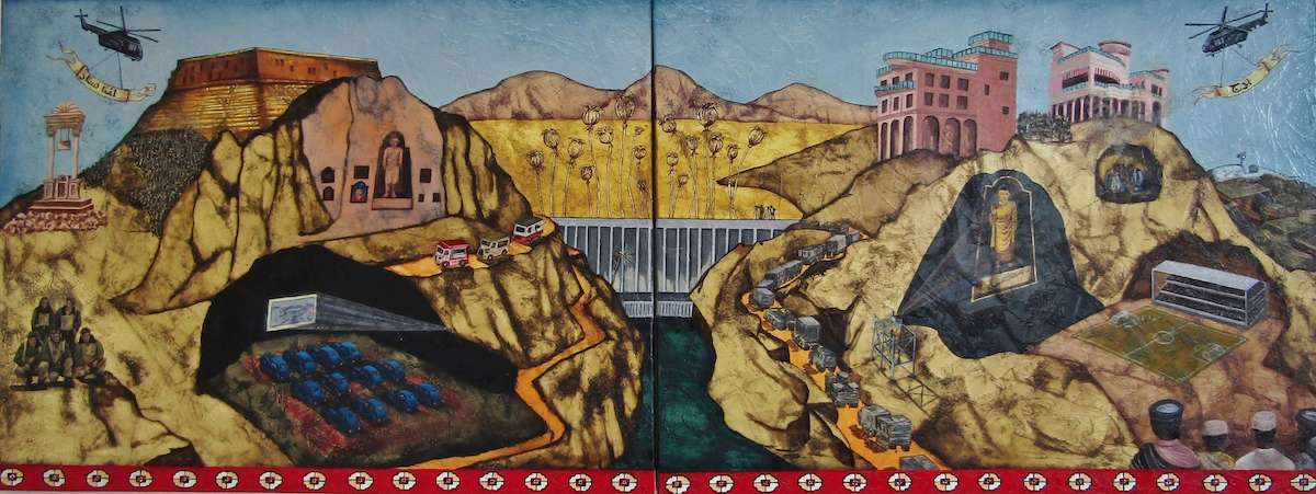 Claire Halpin: Afghan Tour, oil on canvas, diptych, 60 x 150cm | Somewhere between perception and reality | Sunday 9 December 2018  – Sunday 17 February 2019 | Olivier Cornet Gallery