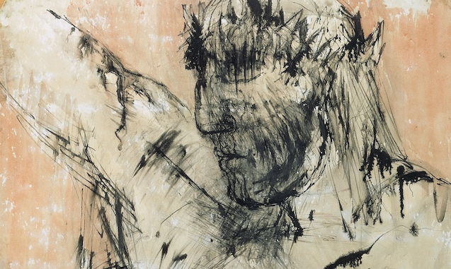Elisabeth Frink (1930-1993), Drawing (detail), 1956, 85 x 68 cm, Methodist Modern Art Collection, Image Copyright © Trustees for Methodist Church Purposes | Methodist Art Collection – Faith and the Artist | Friday 16 November  – Friday 21 December 2018 | Royal Hibernian Academy