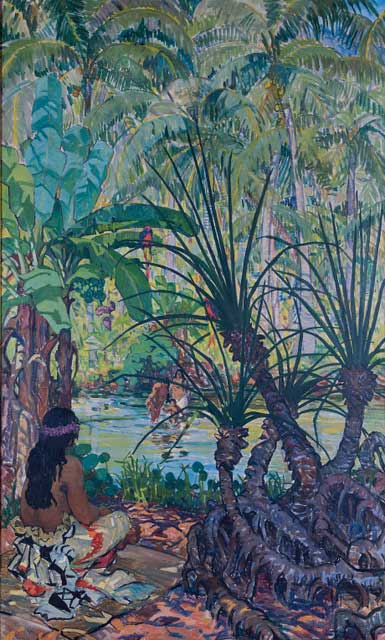 Mary Swanzy (1882-1978) : Samoan Scene, c. 1923; Collection Crawford Art Gallery, Cork (Part of the AIB Art Collection Donated to the State, 2012)  © The Estate of Mary Swanzy | Mary Swanzy: Voyages  | Friday 15 March  – Monday 3 June 2019 | Crawford Art Gallery
