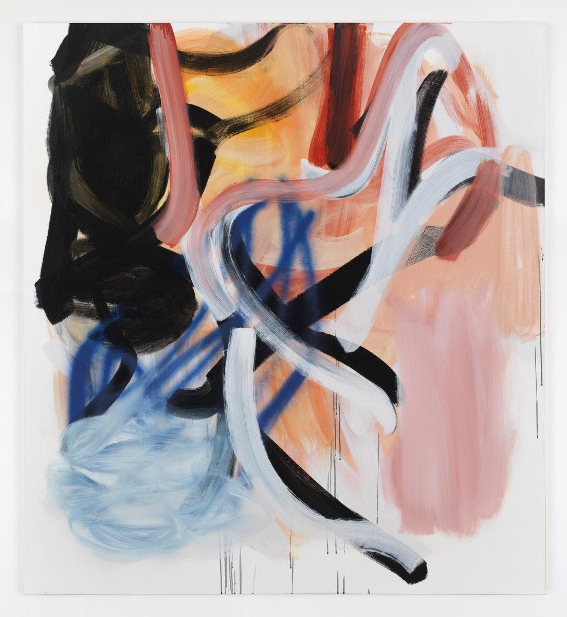 Liliane Tomasko,dark goes lightly, 2018, Acrylic and acrylic spray on linen 172.7 x 157.5 cm / 68 x 62 in | Liliane Tomasko: The Red Thread | Saturday 9 March  – Saturday 13 April 2019 | Kerlin Gallery