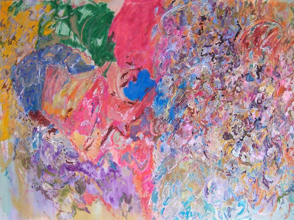 Lary Poons: Diamond Jim, 2011, acrylic on canvas, 194 x 261 cm | John Gibbons and Larry Poons: Surface & Light | Thursday 2 May  – Saturday 6 July 2019 | Hillsboro Fine Art