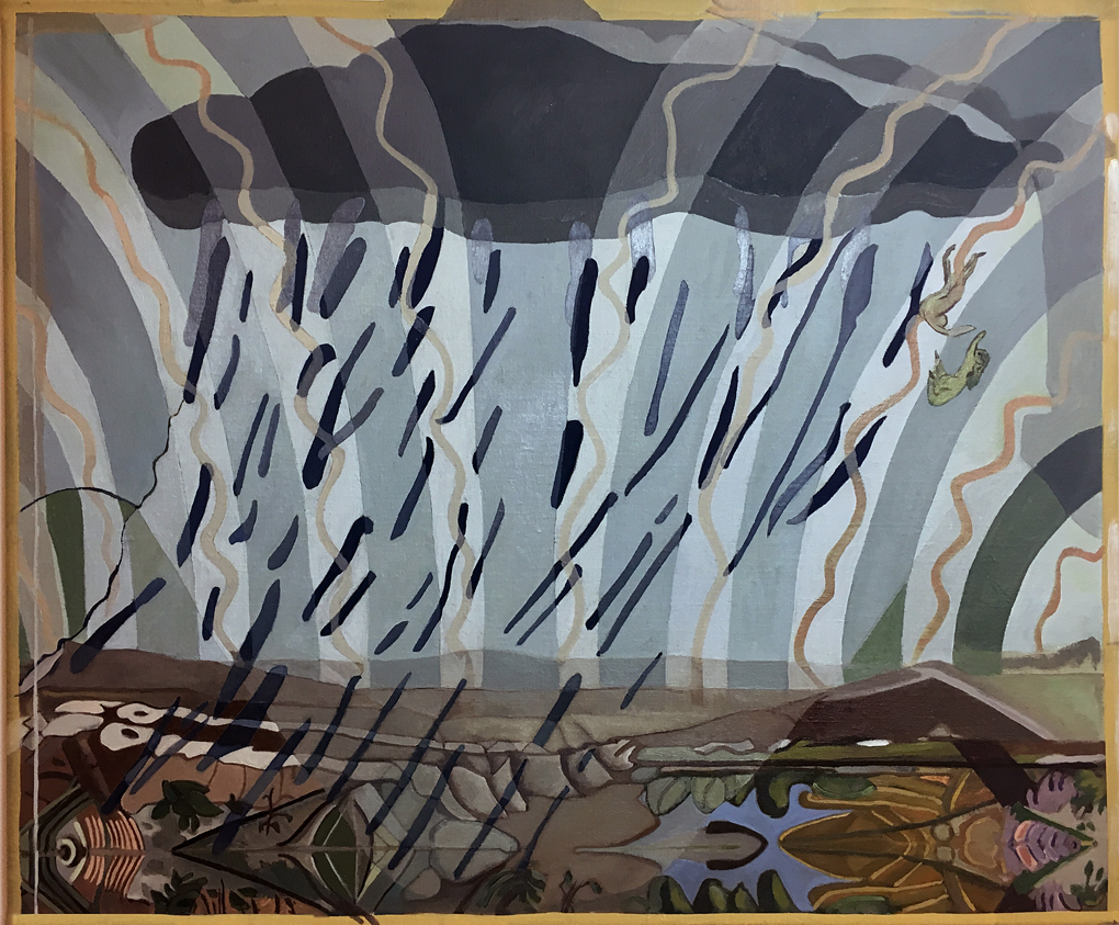 Sonia Shiel: A Storm For Climbing, 2019, oil on canvas, 50 x 60cm | Sonia Shiel: How the Oyster Makes the Pearl | Thursday 11 April  – Saturday 4 May 2019 | Kevin Kavanagh