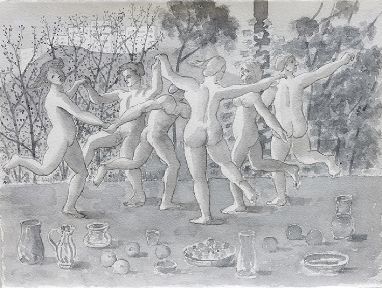 Stephen McKenna, Nude dancing figures, trees in background 2012, watercolour on paper, 29 x 38 cm / 11.4 x 15 in paper size | Merlin James, Elizabeth Magill and Stephen McKenna: last day of May | Friday 31 May  – Saturday 6 July 2019 | Kerlin Gallery