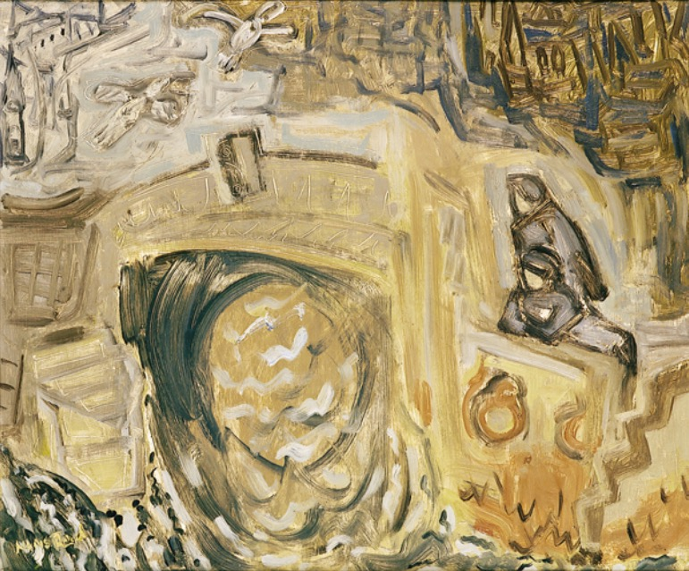 Nano Reid:Loafers, 1957, oil on board, 50.8 x 60.9cm; Drogheda Municipal Art Collection, Highlanes Gallery, Drogheda | I send my love along the Boyne | Saturday 8 June  – Friday 16 August 2019 | Solstice Arts Centre