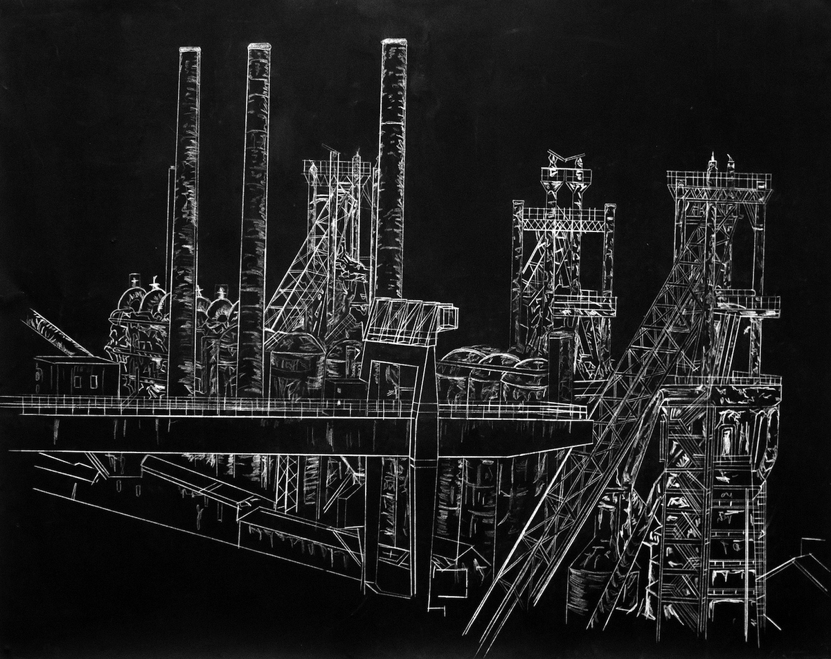 Jason Deans: Ebbw Vale Steelworks, Acrylic and Pencil on Paper, 159 x 113cm, 2018 | Jason Deans: As If Nothing Ever Lasts | Sunday 21 July  – Saturday 14 September 2019 | Sirius Arts Centre